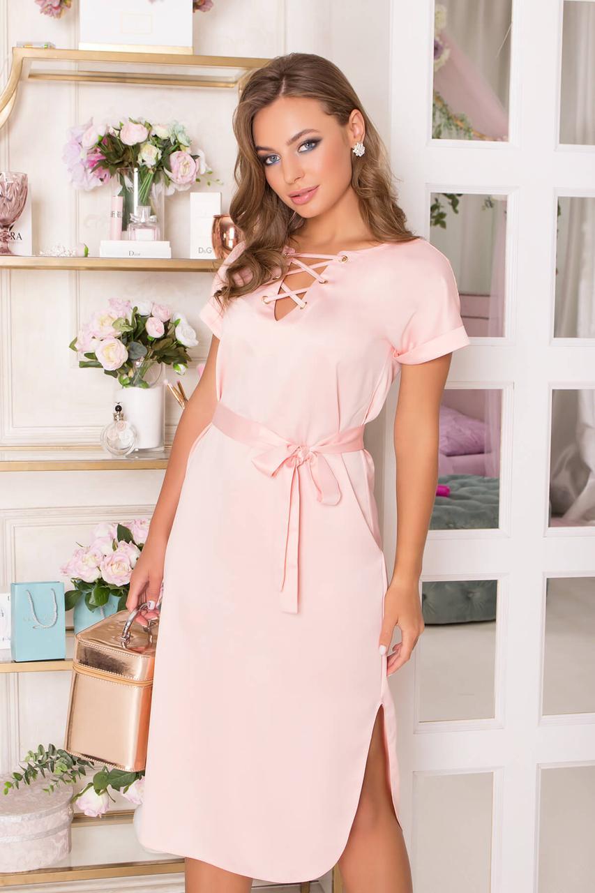 Нарядное платье летнее атласное персиковое