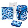 Ранец ортопедический с наполнением HERLITZ Motion Plus Cubes Blue Кубики голубые (50020393)