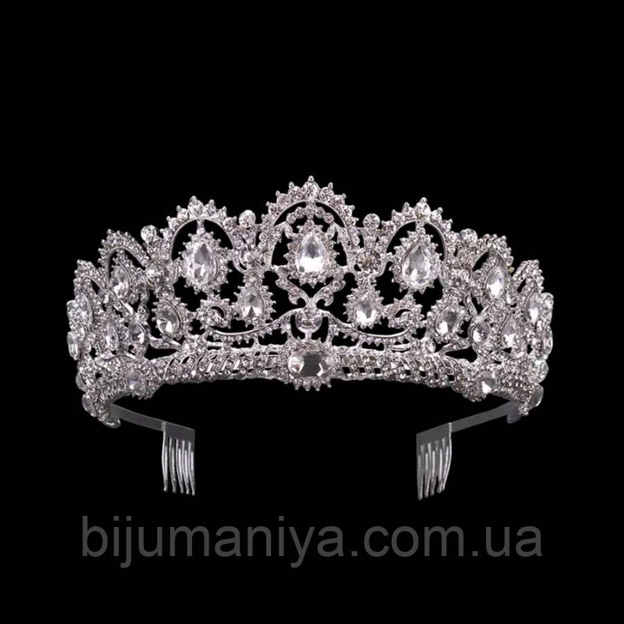 Свадебная диадема, корона, тиара на голову для невесты посеребрение 47138с