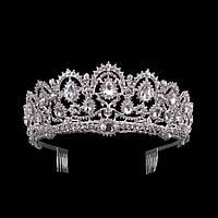 Свадебная диадема, корона, тиара на голову для невесты посеребрение 47138с, фото 1