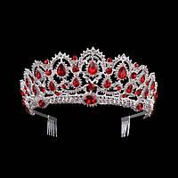 Свадебная диадема, корона, тиара на голову для невесты посеребрение 47139с-а