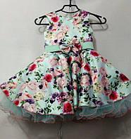 Нарядное платье в цветочек Ретро для девочки на 4-6 лет