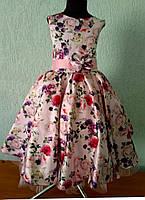 Нарядное платье в цветочек Ретро для девочки на 7-9 лет