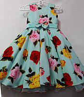Нарядное платье в цветочек Ретро для девочки на 7-9 лет, фото 1