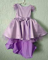 Платье нарядное со шлейфом фиолетовое для девочки на 5-7 лет