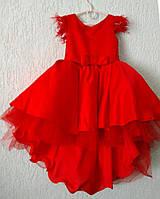 Платье нарядное со шлейфом красное для девочки на 5-7 лет