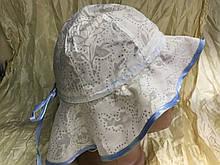 Панамка для девочки   цвет белый с голубым кантом