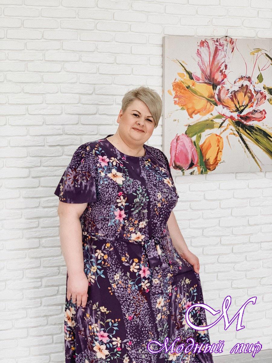 Длинное летнее платье больших размеров (р. 42-90) арт. Елена
