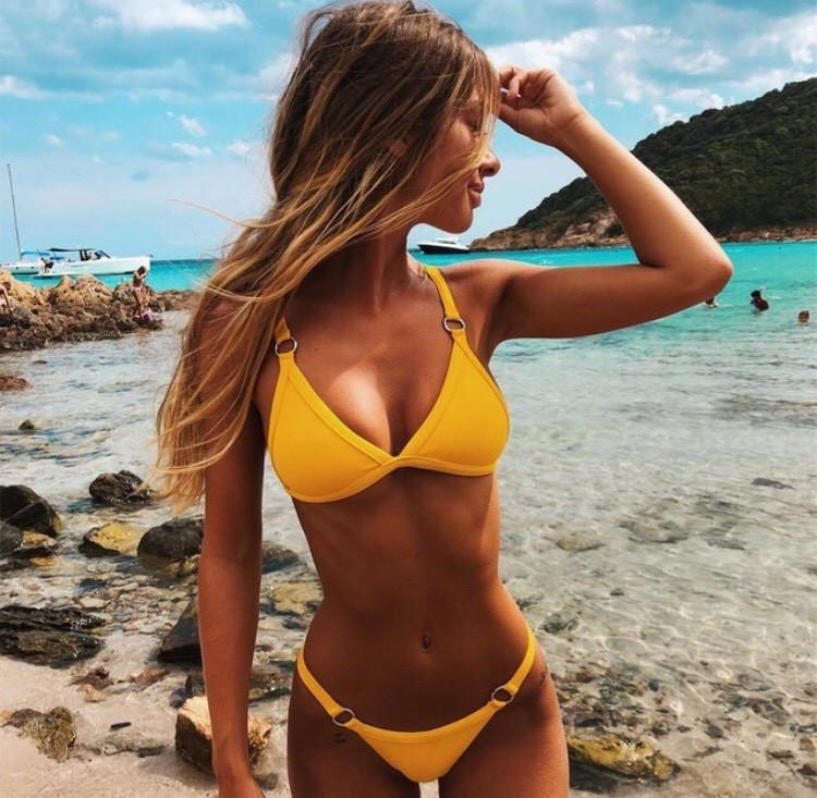 Желтый купальник сплит Размер Л