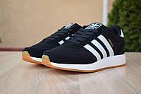 Мужские кроссовки в стиле Adidas INIKI чёрные с белым, фото 1