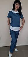 Медицинский женский костюм Ника цветной с отделкой короткий рукав
