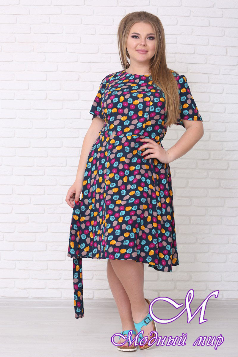 Легкое летнее платье большого размера (р. 42-90) арт. Елена короткое