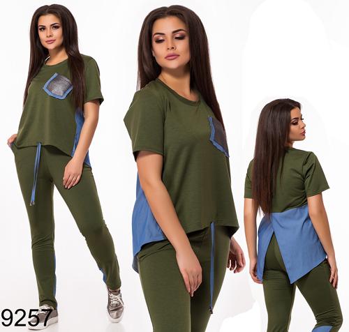 Женский спортивный костюм штаны с футболкой (хаки) 829257
