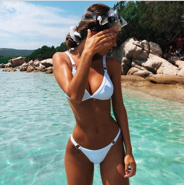 Белый женский модный купальник Бикини 2019