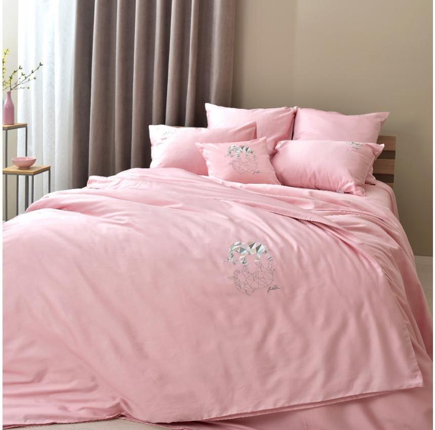 Постельное белье cатин евро Винтаж Слон розовый