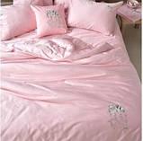 Постельное белье cатин евро Винтаж Слон розовый, фото 2