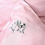 Постельное белье cатин евро Винтаж Слон розовый, фото 4