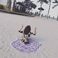 Круглое пляжное махровое полотенце 150 см с бахрамой, фото 1