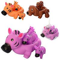 Тваринки резинові, 4 іграшки в наборі, пискавка, 3 види, в сітці, 18-18-13 см