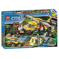 """Конструктор Bela 10713 (Аналог Lego City 60162) """"Вертолёт для доставки грузов в джунгли"""" 1298 деталей"""