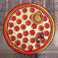 Круглое пляжное махровое полотенце 150 см Pizza, фото 1