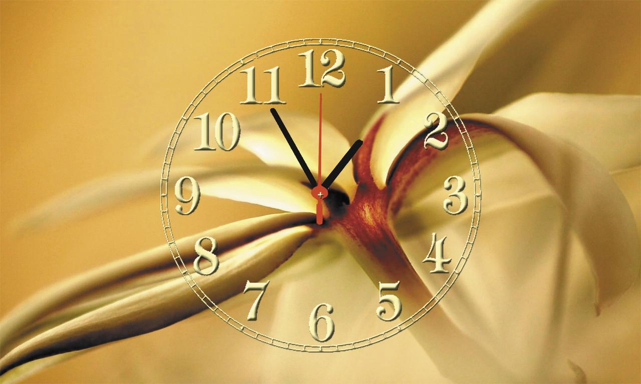 """Часы настенные стеклянные """"Цветок ванили"""""""