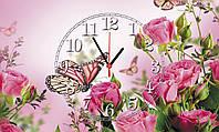 """Часы настенные стеклянные """"Розы и бабочки"""", фото 1"""