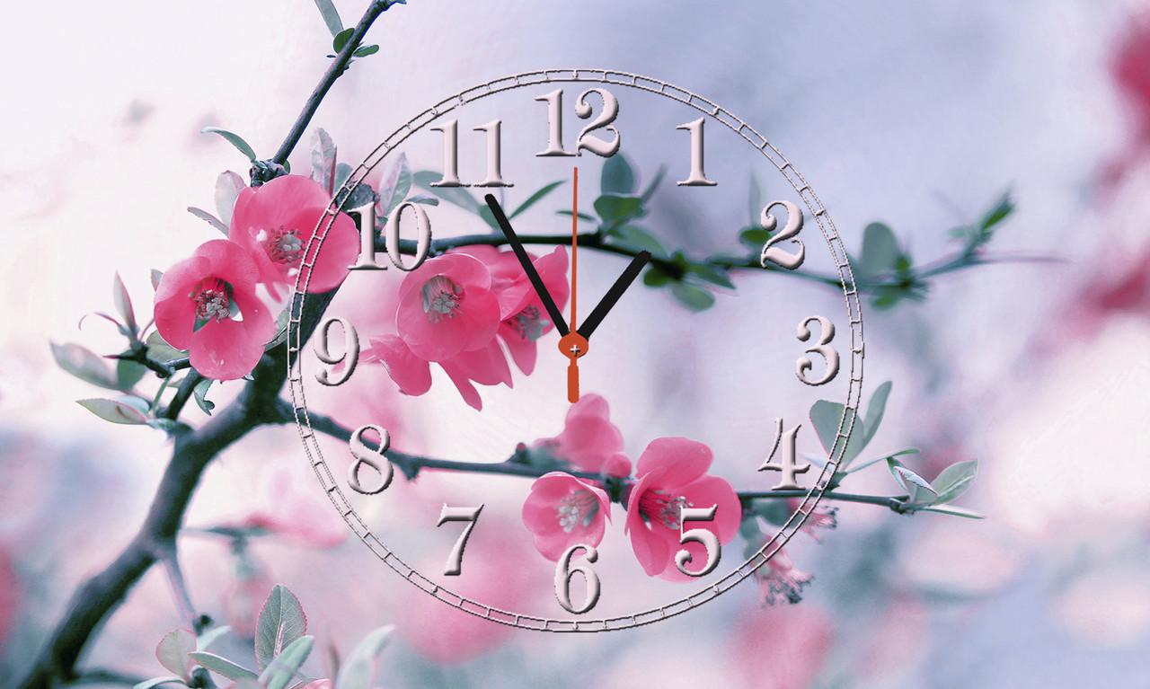"""Часы настенные стеклянные """"Розовый бутон"""""""