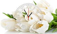 """Часы настенные стеклянные """"Белые тюльпаны"""""""