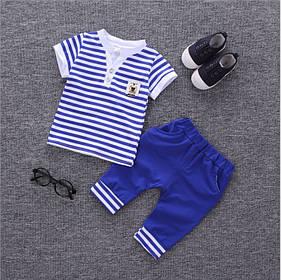 Літній костюм на хлопчика футбока +шорти 1-2 роки блакитний в смужку Морячок