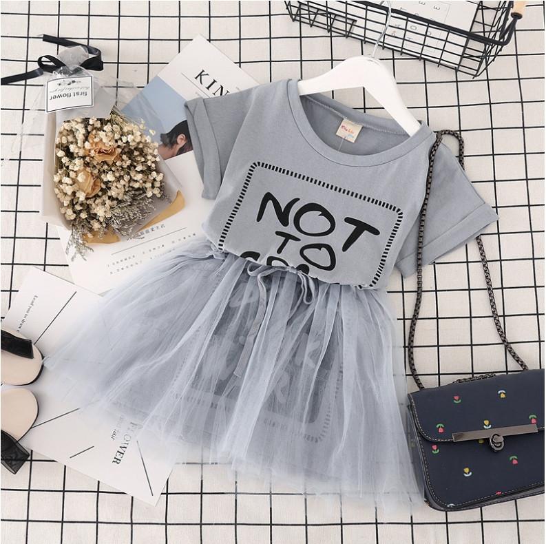 Нарядное детское  летнее платье с фатиновой юбкой 3-7 лет серое