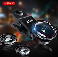 Линзы GETIHU для камеры телефона Макро объектив, Рыбий глаз и Широкоугольная увеличивающая линза