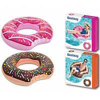 Надувной круг пончик шоколадный и розовый с присыпкой 107 см Bestway