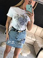 Джинсовый костюм женский, стильный, 1203-087, фото 1