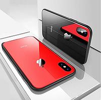 Стеклянный чехол на все модели iPhone  6/S/7/8/Plus/X/XS Красный