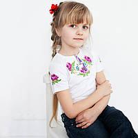 Вышитая футболка для девочки. Мак, ромашка, василек. Короткий рукав