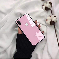 Стеклянный чехол на все модели iPhone  6/S/7/8/Plus/X/XS Розовый