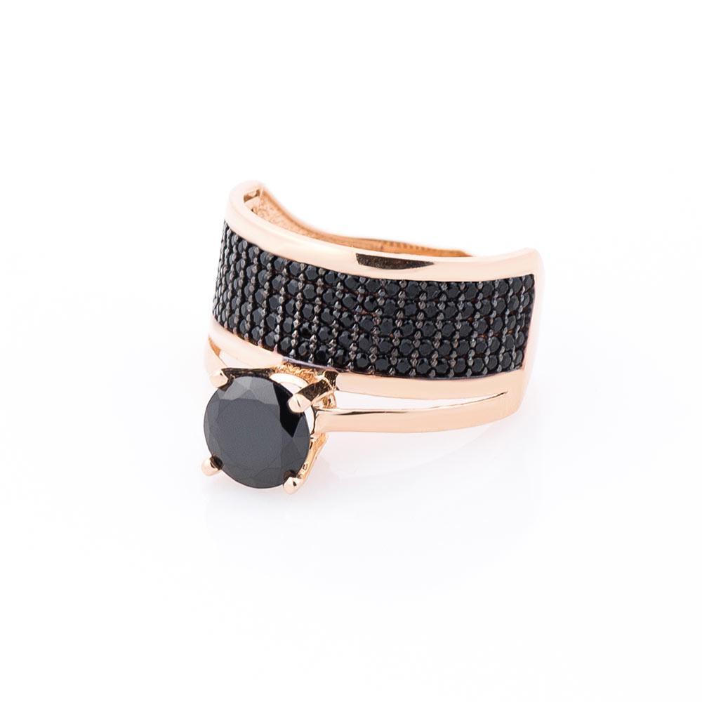 Золотое кольцо (черные фианиты) гк03710