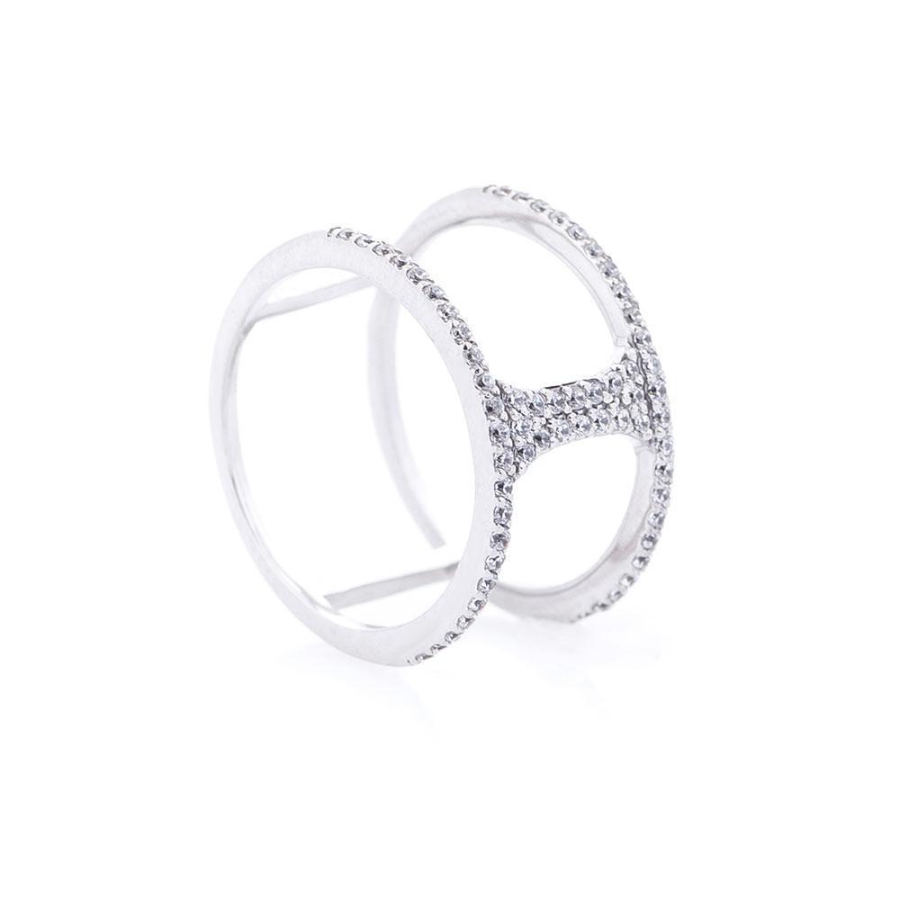 Золотое кольцо на фалангу (фианиты) гк366б