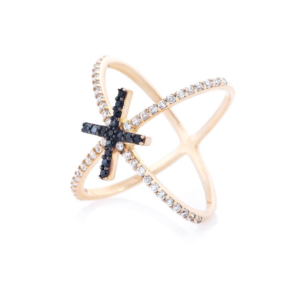 """Золотое кольцо """"Крестик с черными фианитами"""" гк05111"""