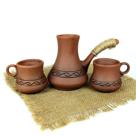 Турка вязаный декор красная керамика с чашками 150 мл