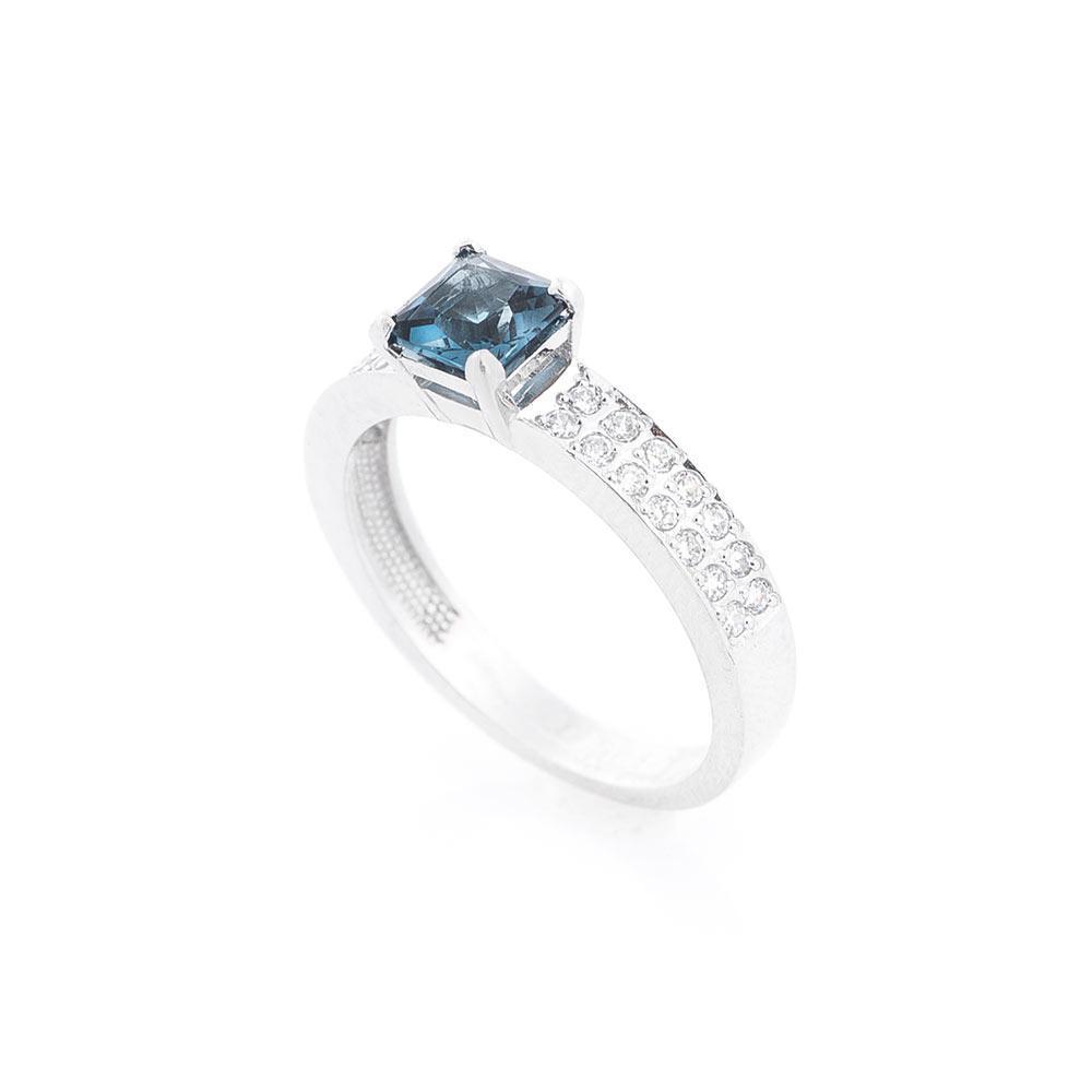 Золотое кольцо с Лондон топазом и фианитами гк14026206