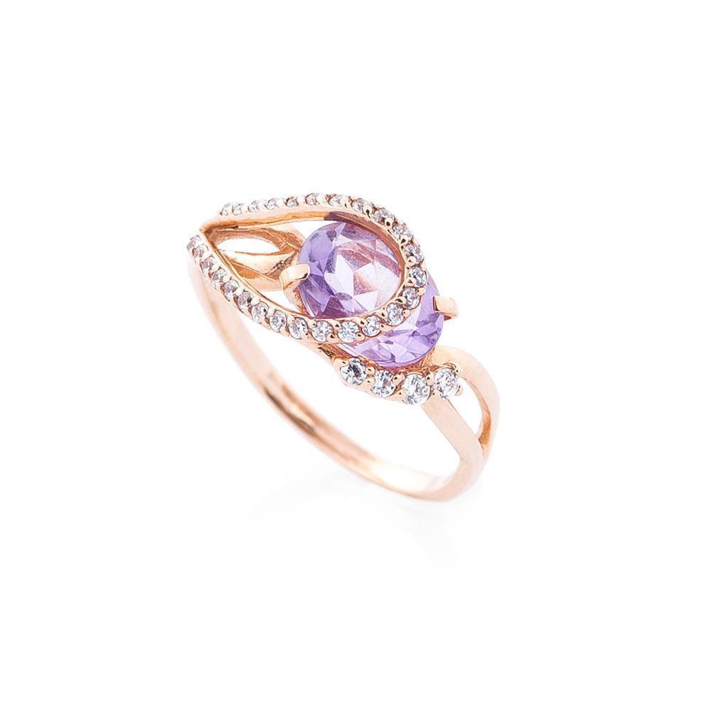Золотое кольцо с аметистом и фианитами гк14030126