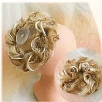 Резинка-шиньон из волос меллировка песочный блонд 977- 27/613