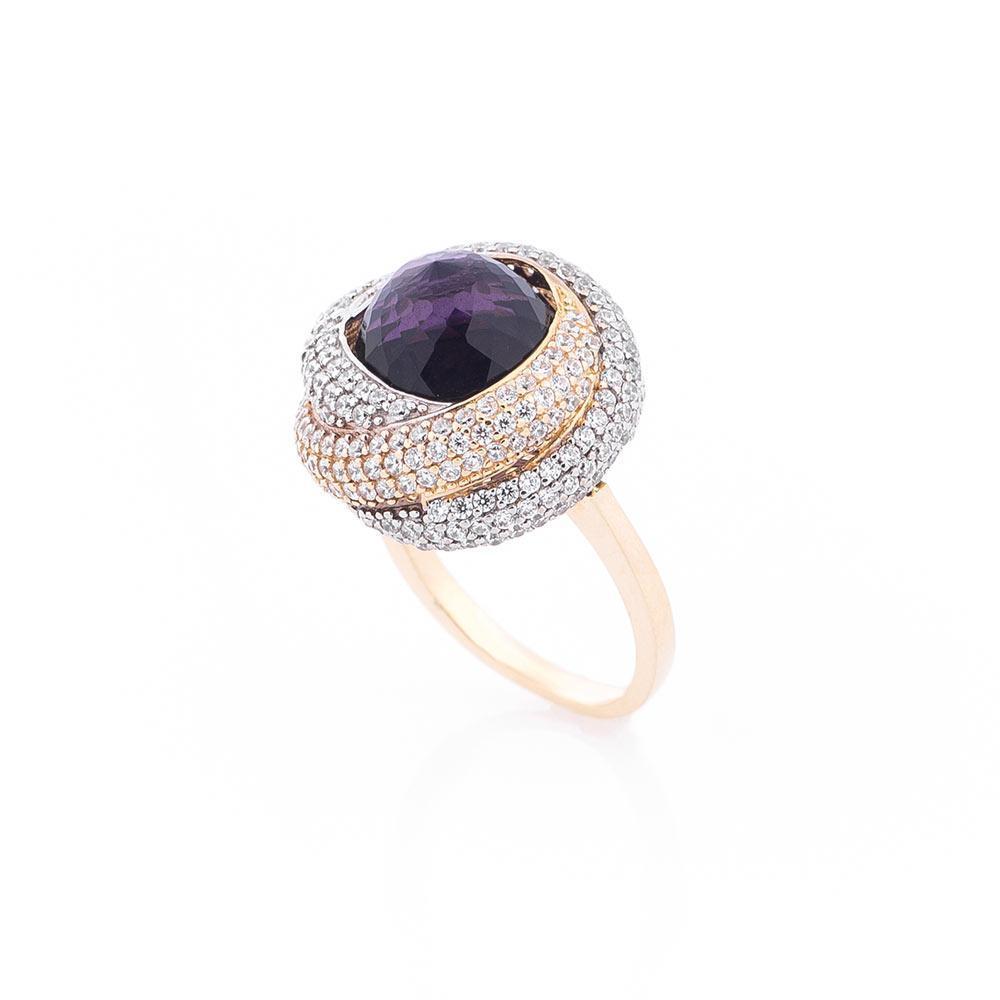 Золотое кольцо с фианитами гк04572