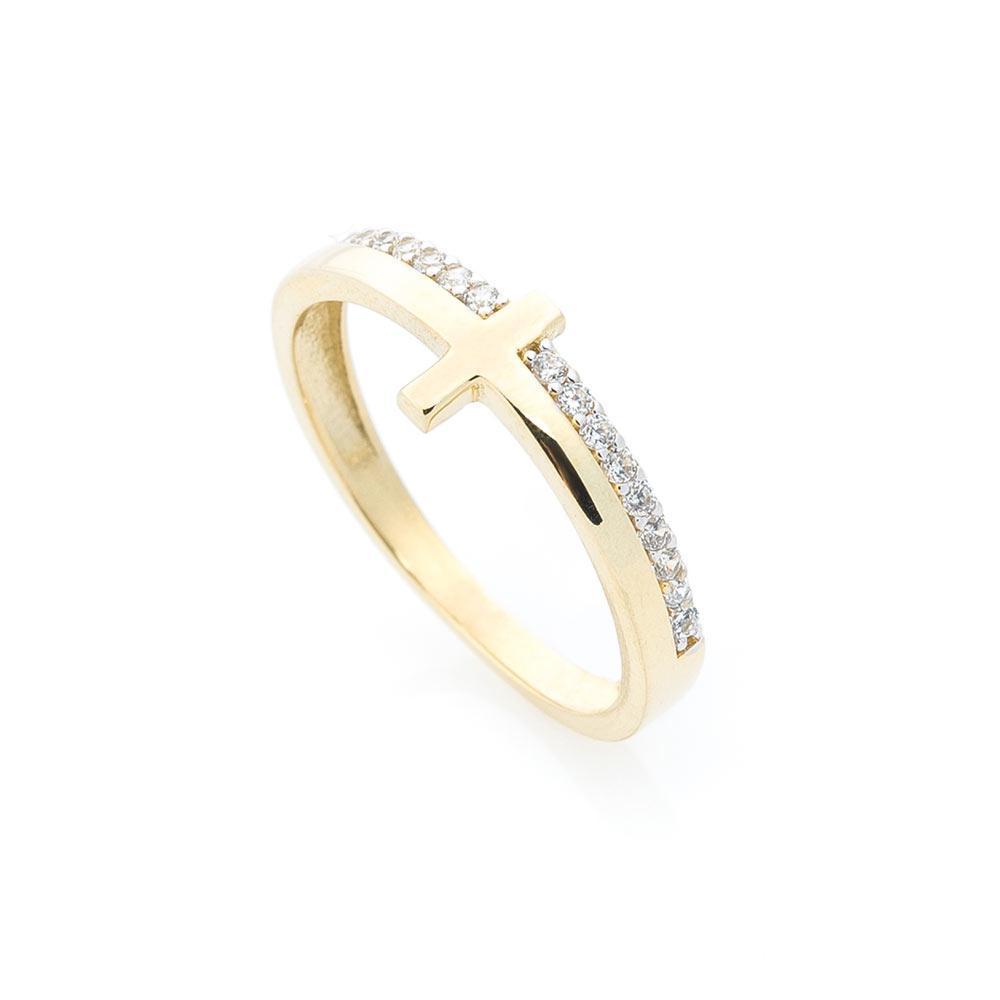 Золотое кольцо с крестиком (фианиты) гк05488