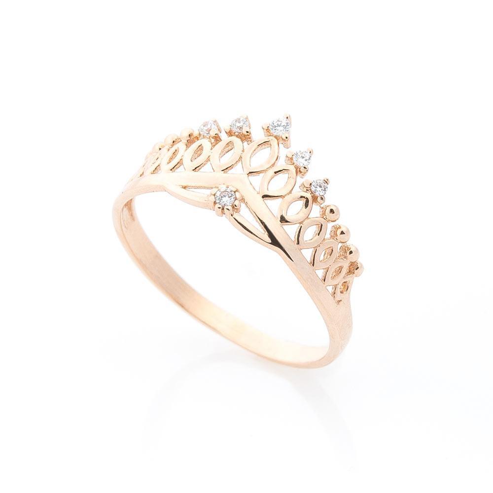 """Золотое кольцо """"Корона"""" с фианитами гк05524"""