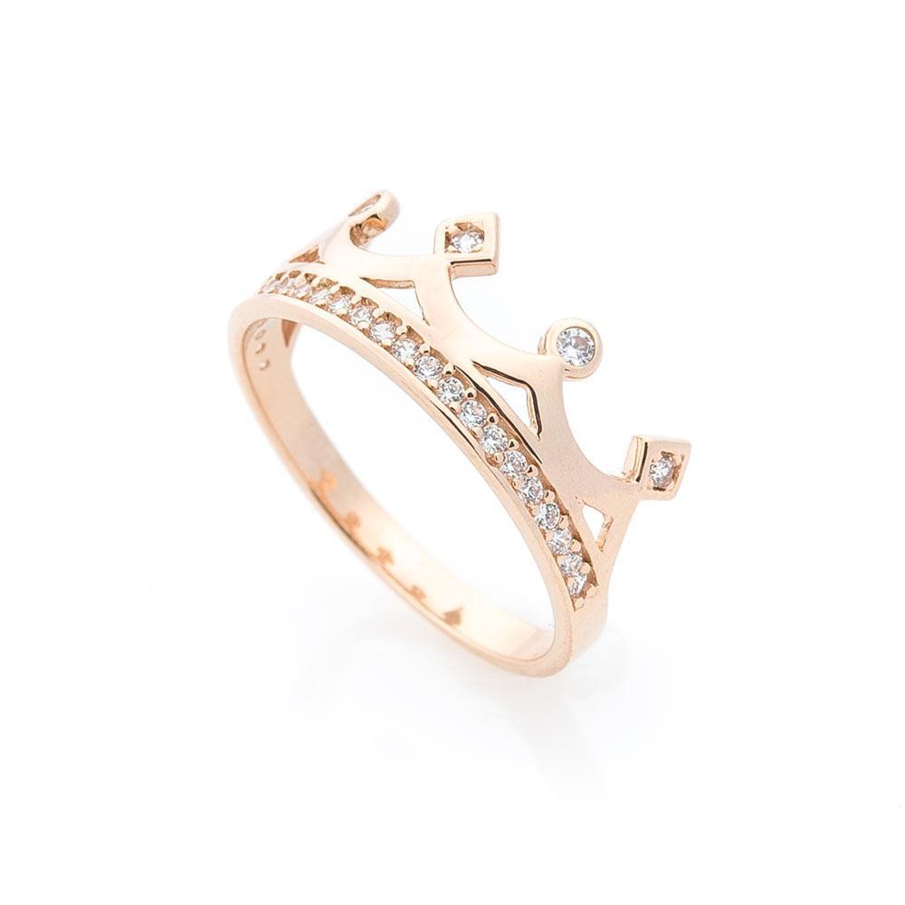 """Золотое кольцо """"Корона"""" с фианитами гк05523"""