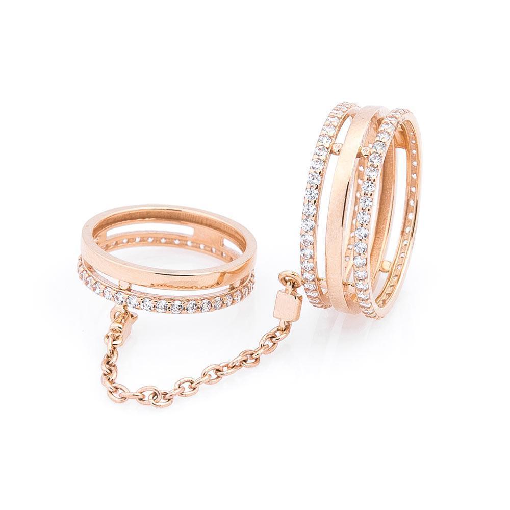 Золотое кольцо на две фаланги с фианитами гк05460