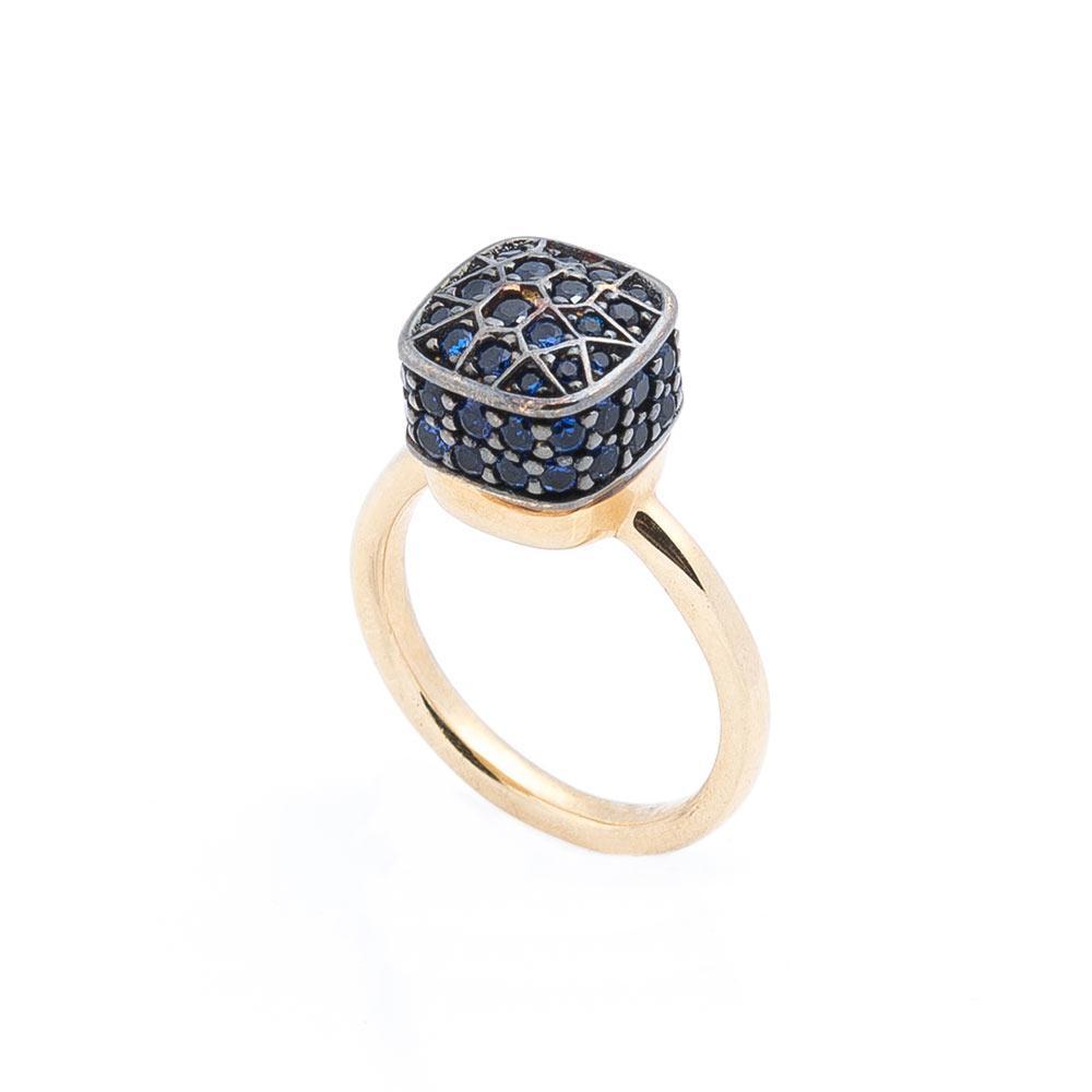 Золотое кольцо с синими фианитами гк05254